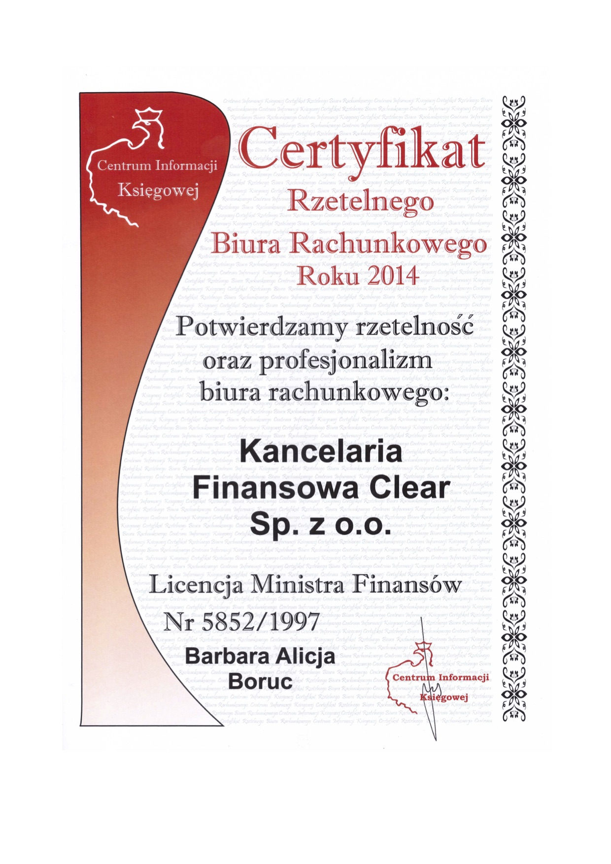 Certyfikat CIK dla kancelarii clear warszawa potwierdzający rzetelność oraz profesjonalizm biura rachunkowego