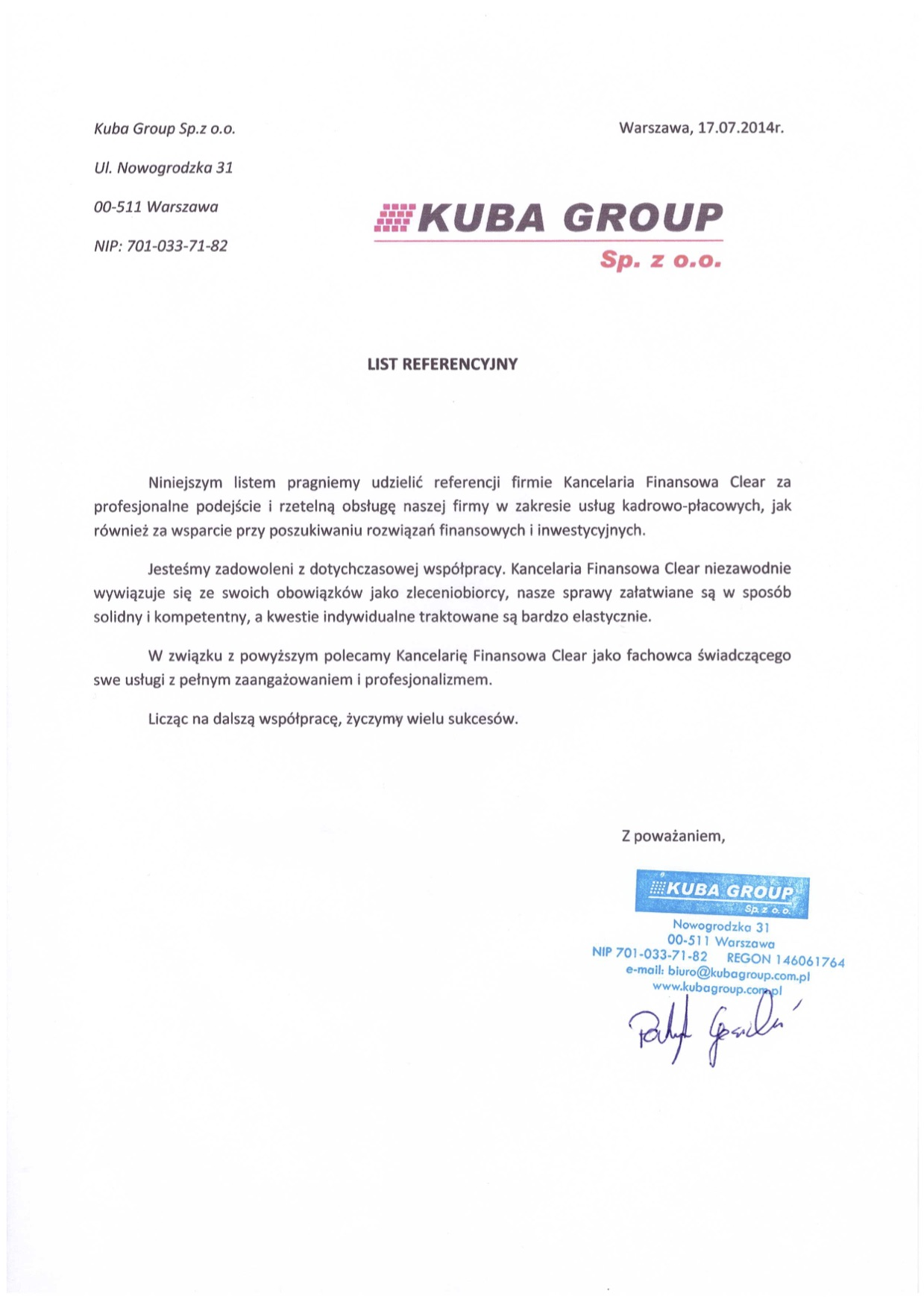 referencje dla kancelaria clear od Kuba Group