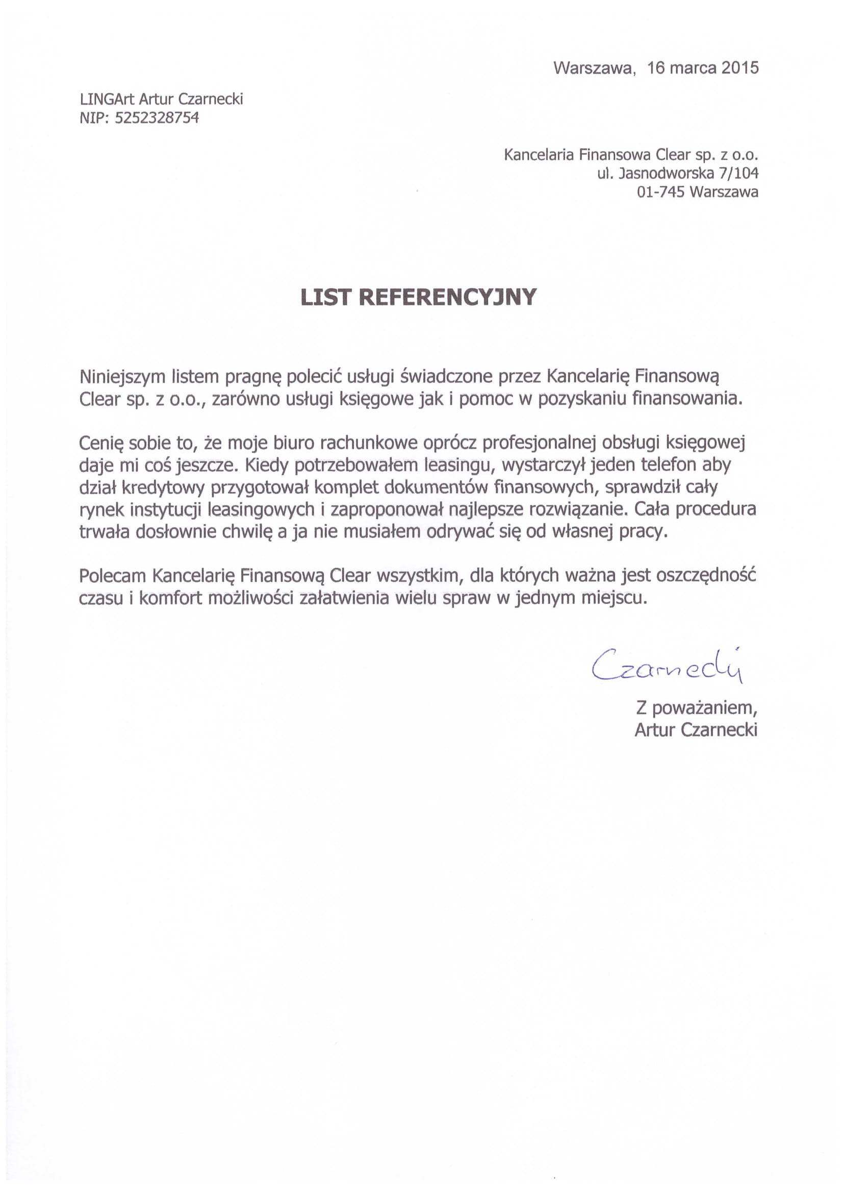 referencje dla kancelaria clear od Lingart Artur Czarnecki-1