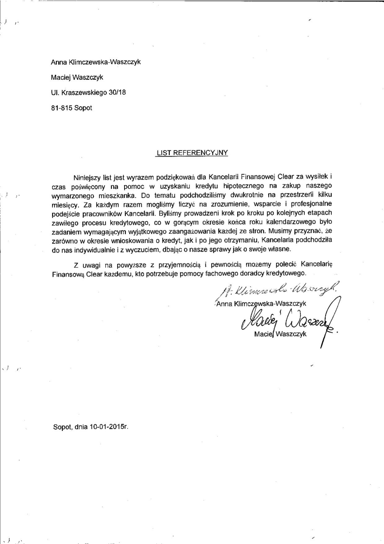 Referencje dla kancelaria clear warszawa od Maciej W.