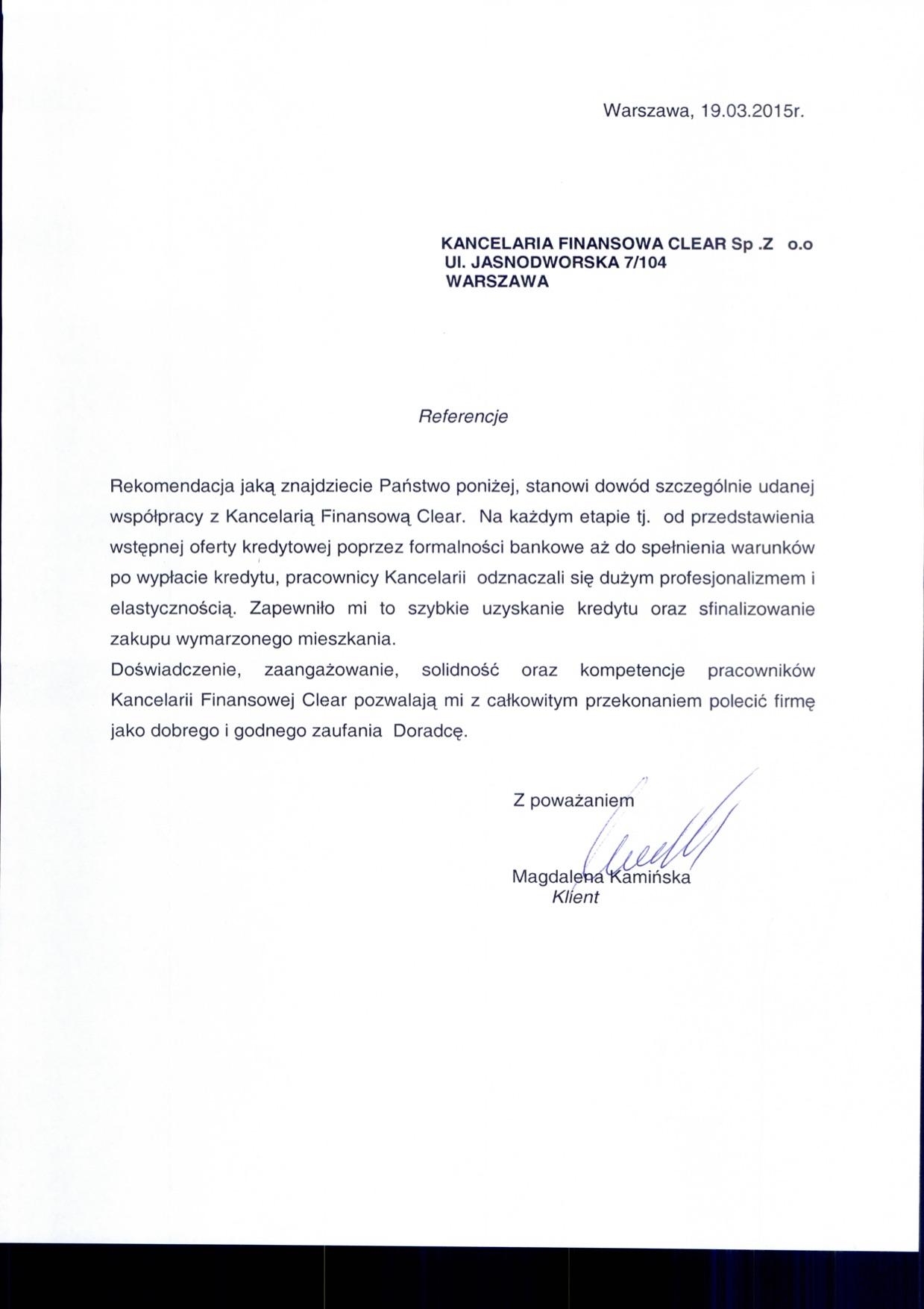 referencje dla kancelarii clear od Magdalena Kamińska