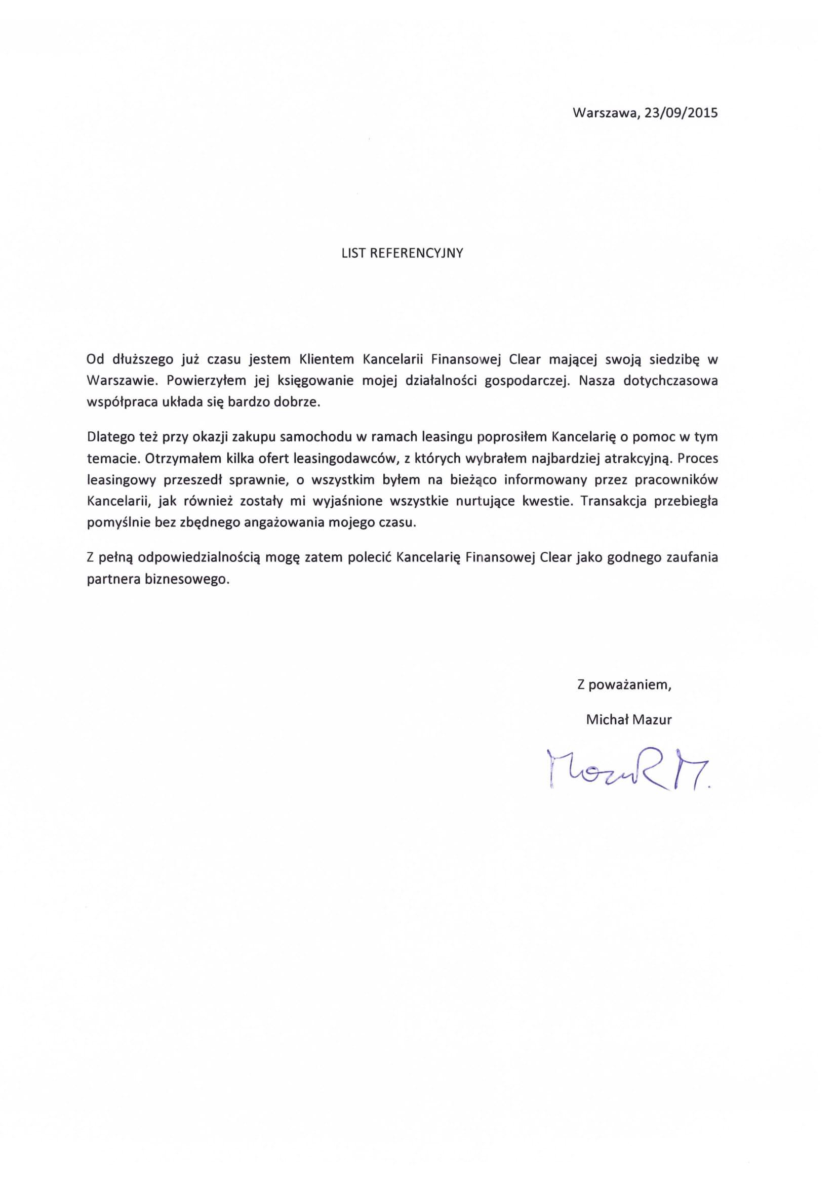 referencje dla kancelarii clear warszawa Michał Mazur-1