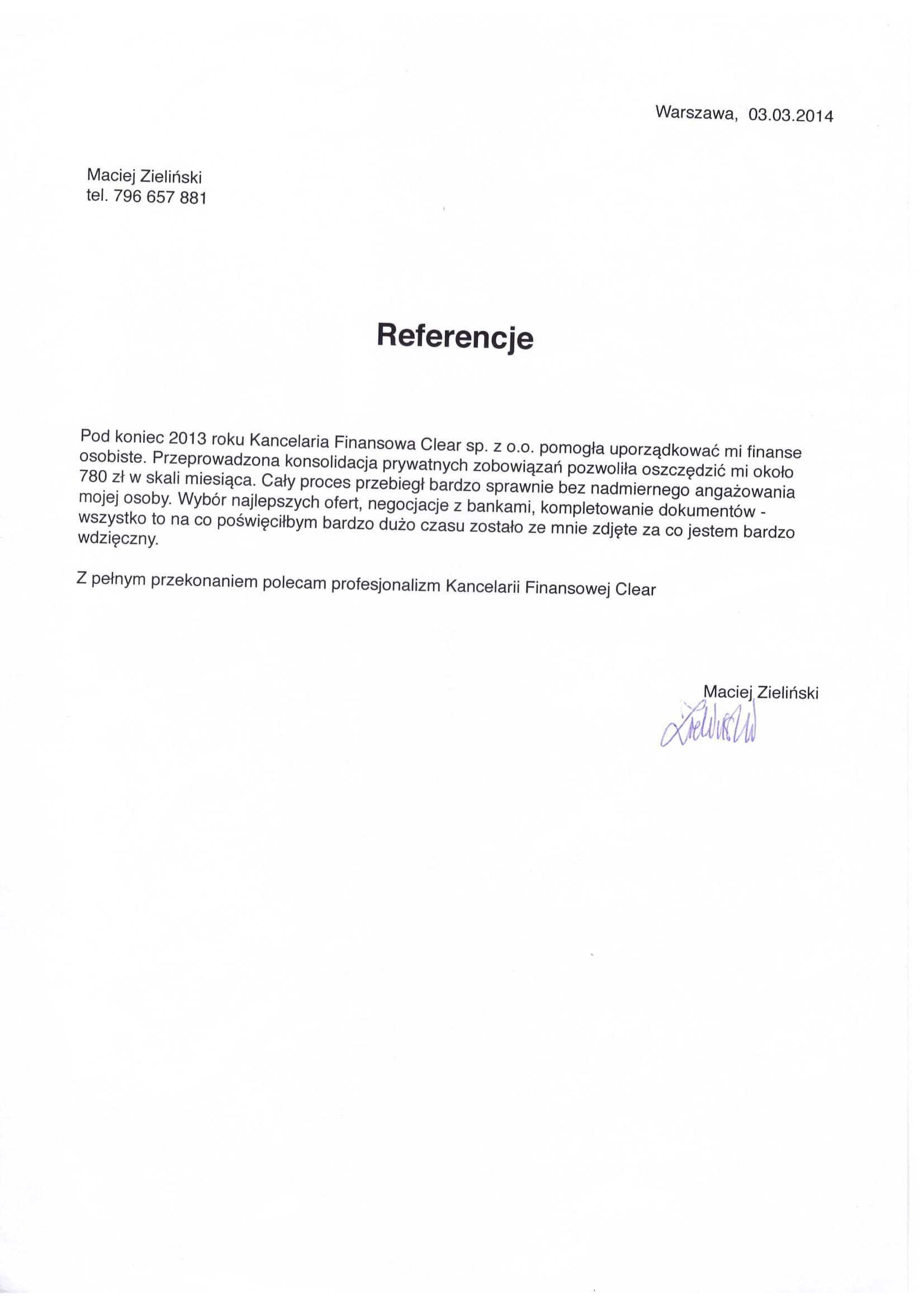 Referencje dla kancelari clear warszawa Maciej Zieliński-1